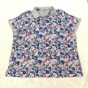 Woman Within Top Polo Plus 4X 34/36 Floral V Neck
